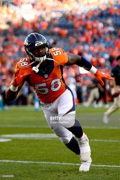 Outside linebacker Von Miller #58 of the Denver Broncos warms up before taking on the Carolina Panthers at Sports Authority Field at Mile High on September 8, 2016 in Denver, Colorado.