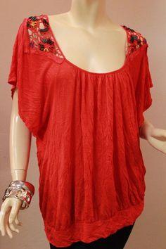 Torrid Red Knit Top Tunic Short Dolman Sleeve Beads 1 1X 14-16 Eyelet Shoulders #Torrid #KnitTop #Casual