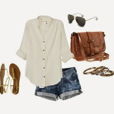 White Shirt, Mini Jeans Short, Brown Hand Bag, Black Sunglasses, Golden Colored Sandal, Golden Colored Accessoriess | Street Fashion