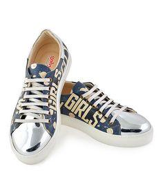 Look what I found on #zulily! Blue & White Dot 'New York City Girls' Sneaker #zulilyfinds