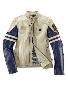 Blauer USA Lederjacke in Beige und Blau mit Steppungen für 1.066,00 €