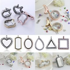 Living Memory Floating Charm Heart Crystal Glass Locket Necklace Chain Pendant