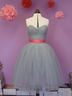 Dove Grey Tule Prom Dress Size 12