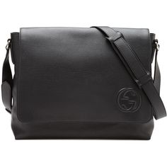 Gucci Soho Men's Leather Messenger Bag ($1,750) ❤ liked on Polyvore featuring men's fashion, men's bags, men's messenger bags, black, men bags messenger bags, gucci mens messenger bag, mens leather messenger bag, mens courier bag and mens messenger bag