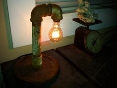 Industrial light made with pipe and weight