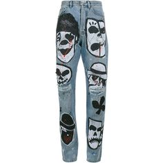 Faith Connexion Hand Painted Skull Boyfriend Jeans (1,430 CAD) ❤ liked on Polyvore featuring jeans, pants, bottoms, blue, boyfriend jeans, blue jeans, multi colored jeans, faith connexion and faith connexion jeans
