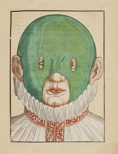 Fact of the Day: In the century, corrective 'squinting hoods' were used in an attempt to realign the gaze of cross-eyed children. (Illustration from Ophthalmodouleia by Georg Bartisch, Dresden, Hermitage Amsterdam, Illustrations Médicales, Illustration Botanique, Botanical Illustration, Collages, Cross Eyed, Medical History, Medical Art