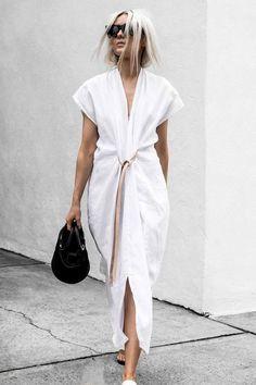 Maxi Dress With Slit, V Neck Dress, The Dress, Shirt Dress, Apron Dress, Kimono Style Dress, Dress Long, Look Street Style, Look Plus Size