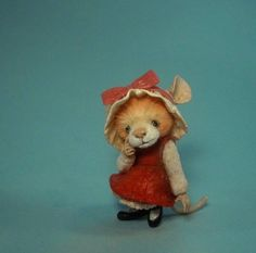Precious!!!!! Miniature Mouse in Easter dress Art doll sculpture by Artist Aleah Klay