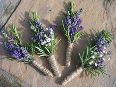 Lavender & rosemary buttonholes Never thought of using Rosemary as the greenery