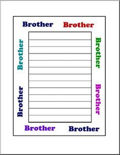 """Border Paper: Brother (elementary) - Wide-lined paper with the word """"Brother"""" in various colors in the surrounding border."""