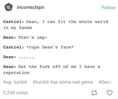 Destiel. 100% sure this would happen.