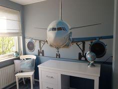 Vliegtuig kinderkamer jongenskamer behang
