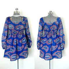 Boho Mod Mini Dress 1960s Vintage Young by rileybellavintage