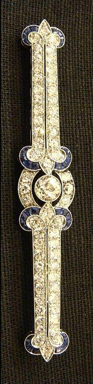 Edwardian brooch ca1905, Old European cut diamonds, sapphires, platinum.