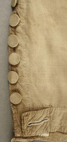 Silk breeches, detail of knee fastening.