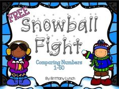 Comparing numbers 1-50 // Flip a card and the biggest number gets to add a cotton ball to their snowball fort