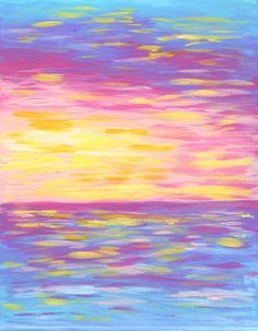 Spring Sunset Print | Acrylic Painting by Hello Monday Design