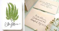 Hazel Wonderland calligraphy tags and envelopes