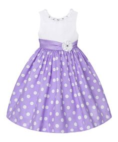 Look at this Lilac & White Polka Dot Dress - Toddler on #zulily today!