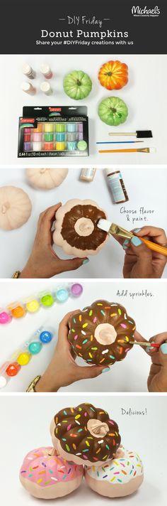 DIY Painted Donut Mini Pumpkins by brandy Fete Halloween, Holidays Halloween, Halloween Pumpkins, Halloween Crafts, Holiday Crafts, Holiday Fun, Happy Halloween, Halloween Decorations, Halloween Stuff
