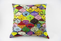 Faces Pillow by Jain&Kriz. A striking and playful accent for the bedroom, kids' or living room. Cool Coasters, Colorful Pillows, Bedroom Kids, Signature Style, Valentine Gifts, Home Accessories, Decorative Pillows, Great Gifts, Faces
