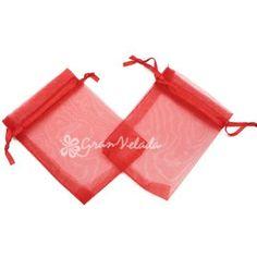 Bolsitas de Organza Medianas, Color Rojo, muy festivas estas bolsas que resultarán un éxito en cualquier momento como #Navidad, #SanValentin, etc.  #diy