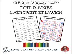French Dots and Boxes Game - L'AÉROPORT - No prep printable An easy and fun no-prep game that will elicit a lot of exposure and pronunciation for the targe. Gcse French, Dots And Boxes, Target, French Resources, Everyday Activities, Dry Erase Markers, Your Turn, Teaching Resources, Vocabulary