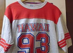 Vintage 90'S HAWAII Football Gray Red T SHIRT SIZE XL Original DS #ALORE #GraphicTee #Everyday