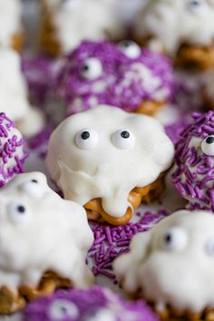 Need a quick, spooky snack for your Halloween party fun? Our cute ghost and monster gooey Halloween Cereal Treats are quick to make and really tasty. They are perfect for your smashing Halloween party or to give out to your ghoulish little trick-or-treaters! You can make these a day or two ahead of time, just make sure you seal them really good in zip-lock bags or sealed container. Get into the Halloween spirit with these fun and festive Ghosts and Purple Monsters for the par-tay!!! Kids as well