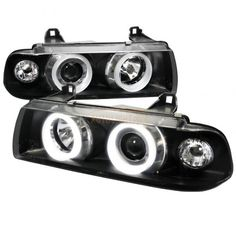 Spec-D LHP-E3621PCJM-TM | 1992 BMW 3 Series Black Halo Projector Headlights for Coupe/Sedan/Wagon