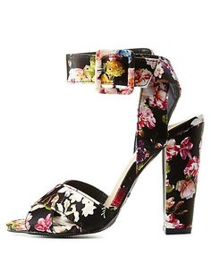 Bamboo Floral Ankle Strap Chunky Heels: Charlotte Russe #heels #floral
