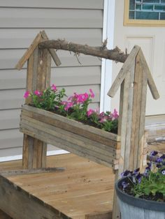Tobacco Stick Birdhouse Flower Box w/Wave Petunias! Pallet Crafts, Wooden Crafts, Tree Crafts, Craft Stick Crafts, Outdoor Crafts, Outdoor Decor, Tobacco Sticks, Barn Wood Projects, Outdoor Wood Projects