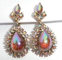 RARE Unusual Vintage Coro, Dragons Breath Aurora Borealis Rhinestone Dangle Earrings