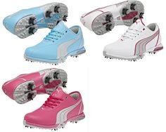 The Puma Womens PG Royal Tee Golf Shoe are fashionable Puma ladies golf shoes built for your support and comfort, too. Puma golf footwear leads the way in stylish models for  women that also offer comfort and performance. And gives you excellent traction and stability with distinctive  StormCell Waterproof Materials OrthoLite Sockliner EverFoam Slow Recovery Foam IdCell MidFoot and Heel Cushioning Molded S2Quill and Replaceable S2Qill Spikes PINS Insert System 2 Year Waterproof Warranty