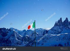 Italian flag in mountain terrain