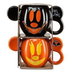 disney parks mickey and minnie pumpkin halloween ceramic mug set new with box