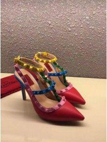 Valentino multicolour stud ankle strap Red 2015