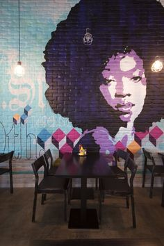 Chico's Restaurant in Helsinki, Finland / interior architecture. Now that's a hot mural...I want to go that restaurant just on the strength of that....