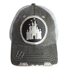 a17c352f3da For The Sporty Mom Who Loves Disney! Castle Fitted Trucker Baseball Cap  Swarovski Bling Hat