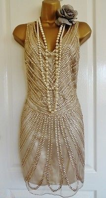 NWT 1920's flapper inspired gold beaded dress size UK 12 USA 8 EU 40 GATSBY Bridesmaid Dress