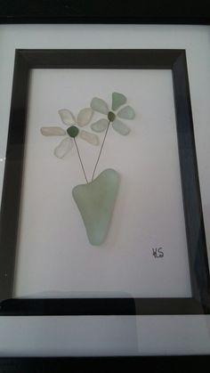 Bouquet of flowers-seaglass framed artwork.#etsy shop#SeaBitsByKirsty
