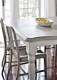 New Ideas Kitchen Table Makeover Grey Dining Rooms Painted Kitchen Tables, Farmhouse Kitchen Tables, Kitchen Paint, Painted Tables, Refurbished Kitchen Tables, Painted Chairs, Chalk Paint Dining Table, Refinishing Kitchen Tables, Kitchen Dining