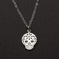 Sugar Skull Necklace, Sugar Skull Jewelry, Sterling Silver Skull Necklace, Day of the Dead Necklace, Dia de Los Muertos Jewelry by TheEleventhSpirit on Etsy https://www.etsy.com/listing/232874338/sugar-skull-necklace-sugar-skull-jewelry