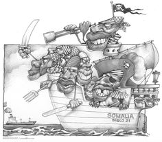 Somali Pirates Drawing by Caricatures By PONTET - Somali Pirates ... Pirate Ship Drawing, Somali, Caricatures, Character Concept, Pirates, Cartoons, Drawings, Illustration, Pictures