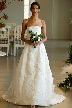 Oscar de la Renta. Wedding dress inspiration. See all 50 of the most beautiful dresses from 2016 bridal fashion week here: http://www.harpersbazaar.co.uk/bazaar-brides/news/g37282/bridal-fashion-week-2016/