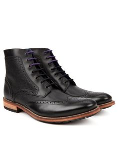 Brogue ankle boot - Black | Footwear | Ted Baker ROW