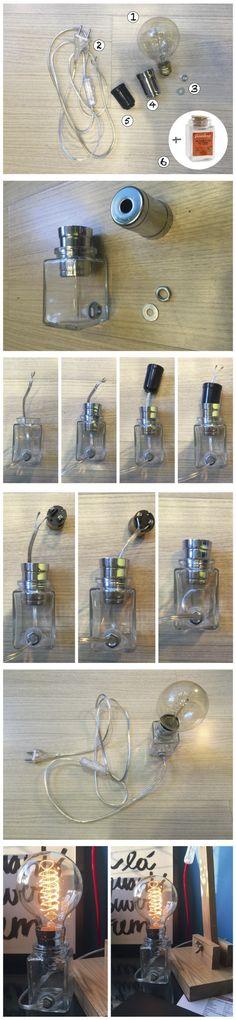 Luminária com um potinho de tempero. Para saber como cortar o vidro, confira o tutorial no www.ideiasdiferentes.com.br