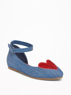 547465db8fed15 Old Navy Chambray Sparkle-Heart Flats for Toddler Girls. Lebelonyane  Keketso · shoes for titi