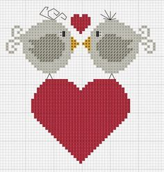 Punto croce Lots of adorable little cross stitch freebies. Cross Stitch Heart, Cross Stitch Animals, Cross Stitch Designs, Cross Stitch Patterns, Cross Stitching, Cross Stitch Embroidery, Beading Patterns, Embroidery Patterns, Bird Patterns